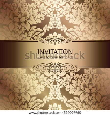 Abstract Background With Luxury Beige And Gold Vintage Frame Damask