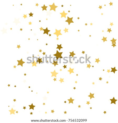 Abstract background with many falling gold stars confetti. vector background