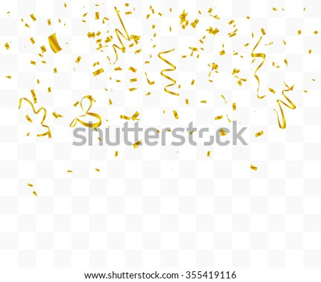 Abstract background with many falling gold tiny confetti pieces. vector background
