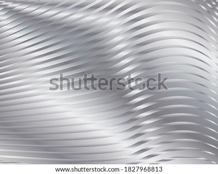 Abstract background with metal waves. Bright silver stripy metallic backdrop. Abstract background with metal waves. Metal Texture with wavy, curves stripes. Luxury digital concept.