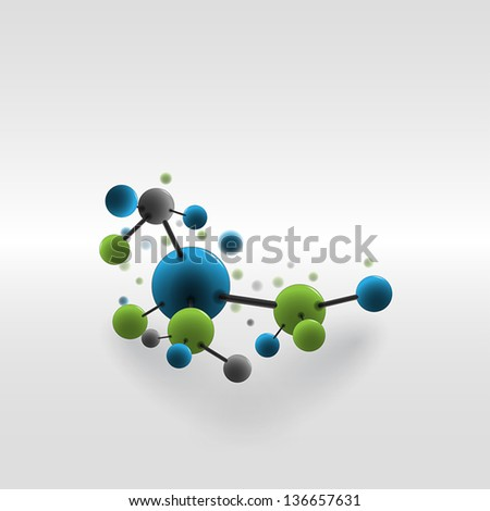 Abstract background with molecules and atoms