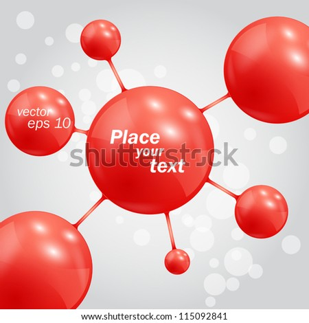 Abstract background with molecules spheres