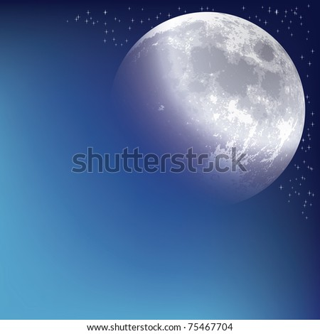 abstract background with moon on the night sky