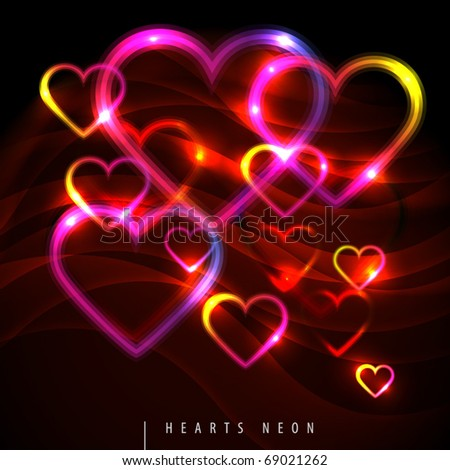 Abstract background with neon hearts