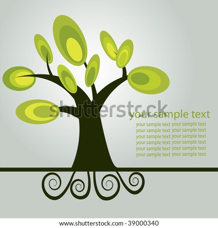 Abstract background with olive tree. Vector illustration