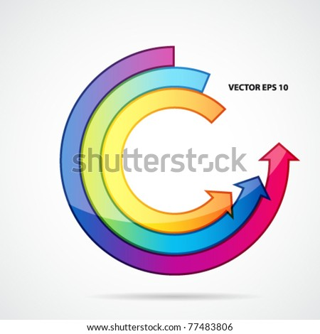 Abstract background with open ring of arrows.