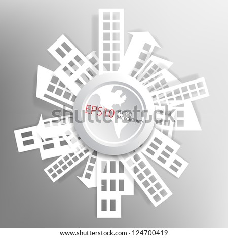 Abstract background with paper houses