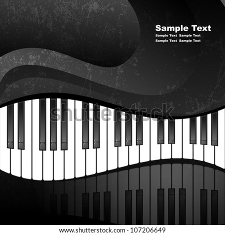 Abstract background with piano keys in grunge style. EPS10 vector illustration. Contains opacity mask.
