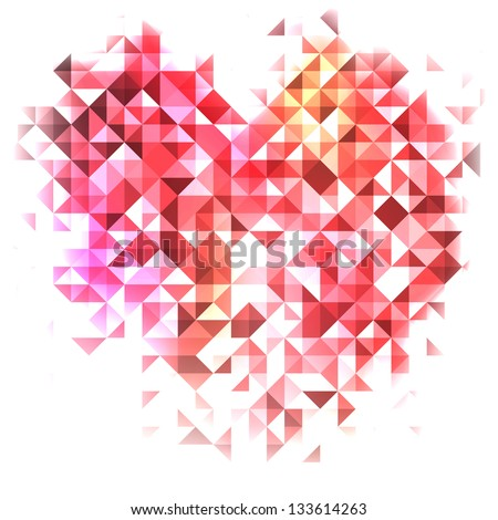 Abstract background with purple glowing triangles heart, vector illustration