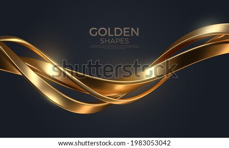 Abstract background with realistic golden metal shape. Fluid golden wave. Intertwined gold shapes. Vector 3d luxurious illustration.