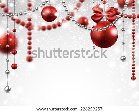 Abstract background with red christmas baubles. Vector illustration.  #226259257