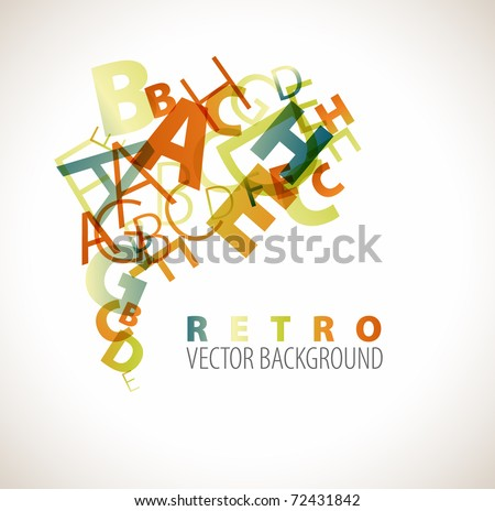 Abstract background with retro colored letters