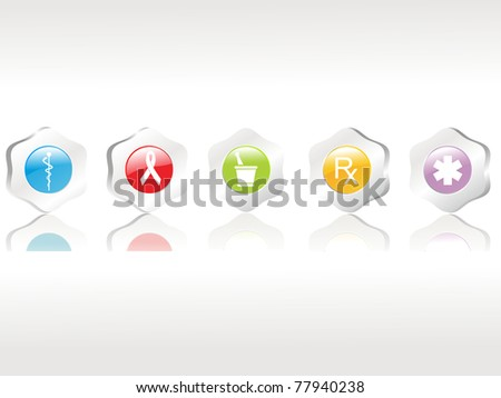 abstract background with set of five medical icons, vector illustration