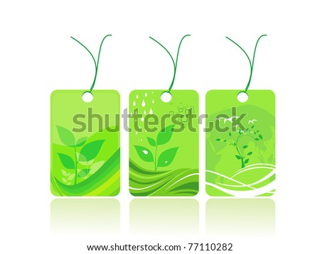 abstract background with set of three save earth sale tag - stock vector