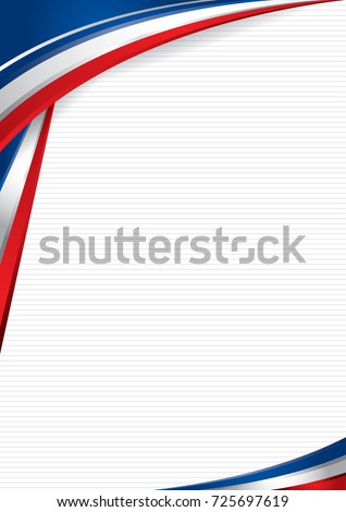 Abstract background with shapes with the colors of the flag of USA, Costa Rica, Chile, to use as Diploma or Certificate. Format A4. Vector image