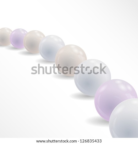 Abstract background with shiny balls.Vector pearls