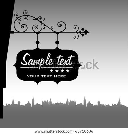 Abstract background with shop plate hanging from a decorated support - stock vector