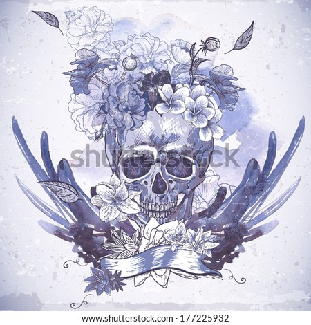 Abstract Background with Skull Wings and Flowers