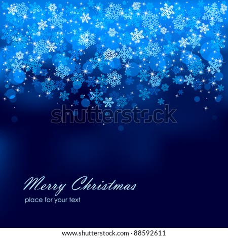 Abstract background, with stars, snowflakes and blurry lights, illustration