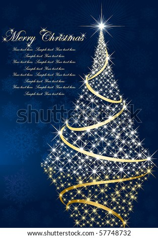 Abstract background, with stars, snowflakes and Christmas tree, illustration - stock vector