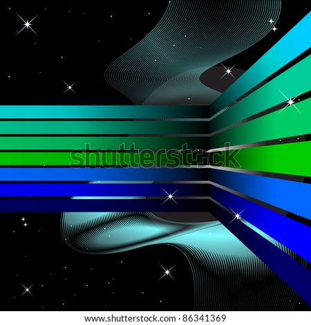 Abstract background with the bent strips on the black. Vector.