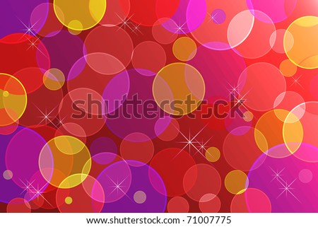 Abstract background with transparent circles and stars. 10eps vector.