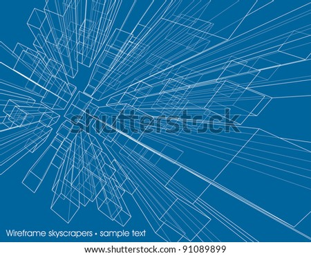 abstract background with transparent skyscrapers