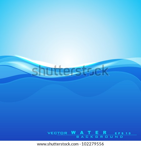 Abstract background with water waves and sun light for save water concept and other purpose. can be use as flyer, banner or poster.EPS 10.