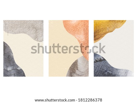 Abstract background with watercolor texture vector. Curve element with Japanese wave pattern in vintage style. Foto stock ©