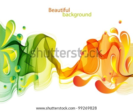 Abstract background with waves and drops, beautiful vector illustration