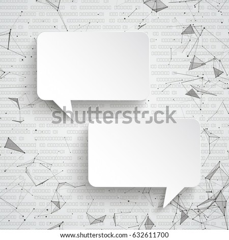 Abstract background with white paper speech bubbles, connected dots and data. Eps 10 vector file.