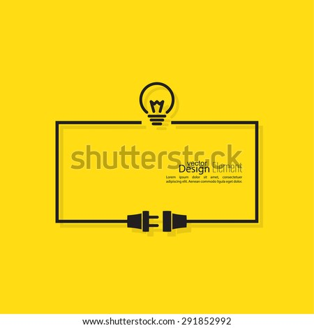 Abstract background with wire plug and socket. Concept connection, connection, disconnection, electricity. Flat design. Including the idea. The thought process