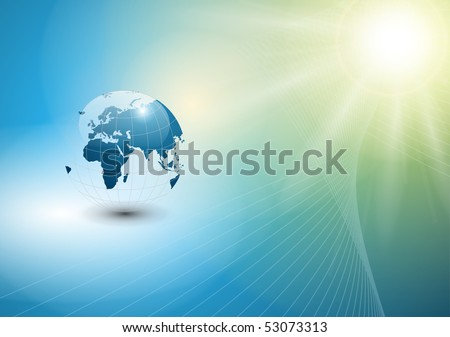 abstract  background with world globe and sun, EPS10 vector.