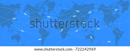 abstract background with world map and stylized flight routes