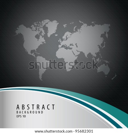 Abstract background with world map, vector illustration
