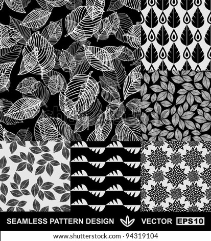 Abstract backgrounds set, monochrome vector wallpapers, black and white seamless patterns, fabrics and wrappings with graphic flowers, leafs, and geometric damask ornaments -summer, spring and autumn