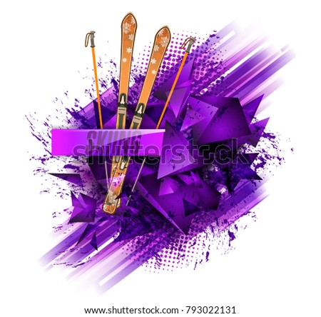 Abstract backgrounds, ski sport text