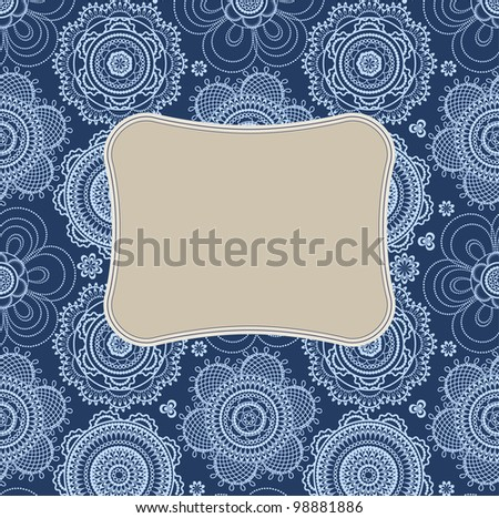 Abstract bakgound pattern with vintage lace circle looks like a stylized flower