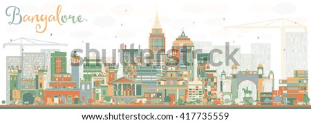 abstract bangalore skyline with