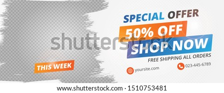 Abstract banner design for ads, banner social media, banner fashion sale with white background