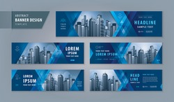 Abstract banner design web template Set, Horizontal header web banner. Modern Blue Geometric Triangle cover header background for website design, Social Media Cover ads banner, flyer, presentations.