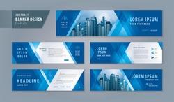 Abstract banner design web template Set, Horizontal header web banner. Modern Geometric Blue Triangle cover header background for website design, Social Media Cover ads banner, flyer, invitation card