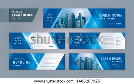 Abstract banner design web template Set, Horizontal header web banner. Modern Geometric Blue Triangle cover header background for website design, Social Media Cover ads banner, flyer, invitation card ストックフォト ©