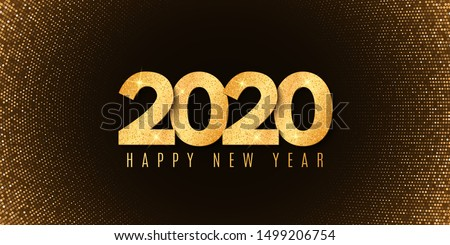 Abstract banner for Happy new year 2020. Fluid design. Halftone glowing pattern. Gold glitter numbers. Festive cover. Greeting card. Vector illustration. EPS 10