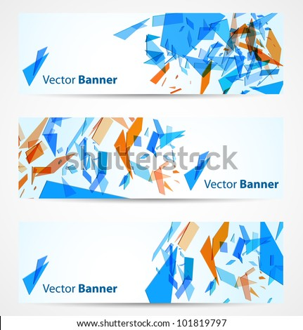 Abstract banners with blue and orange particles. Vector illustration