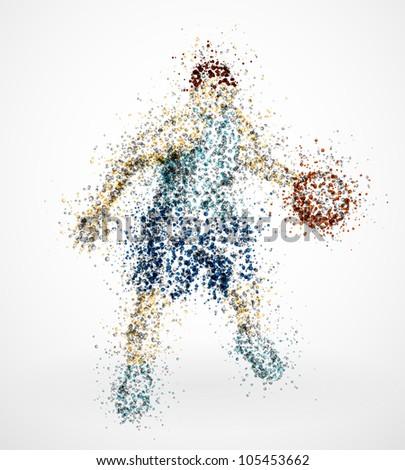 Abstract basketball player with ball. Eps 10