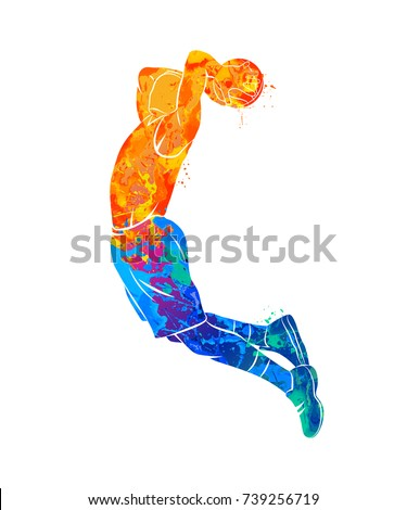 abstract basketball player with