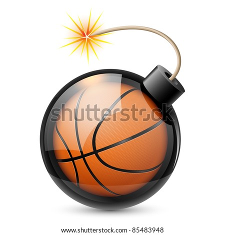 Abstract basketball shaped like a bomb. Illustration on white background for design