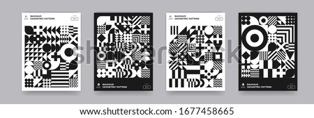 Abstract Bauhaus geometric pattern background, vector circle, triangle and square lines art design. Black and white Bauhaus Swiss pattern background, posters set