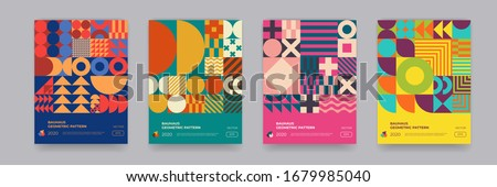 Abstract Bauhaus geometric pattern background, vector circle, triangle and square lines color art design. Colorful Bauhaus pattern background